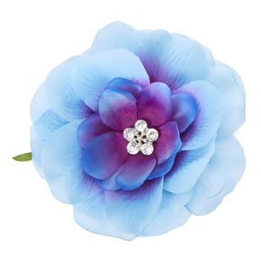 Blue Ombre Lily with Clear Plastic Gem Center Flower Hair Clip,