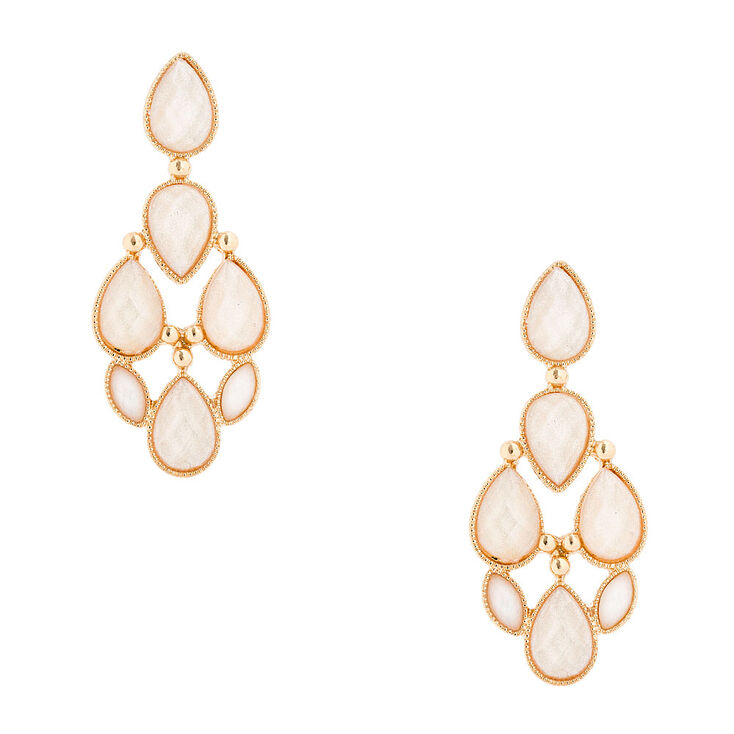 Glitter Ivory Teardrop Stones Drop Earrings,