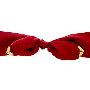 Burgundy Satin Bow Headwrap,