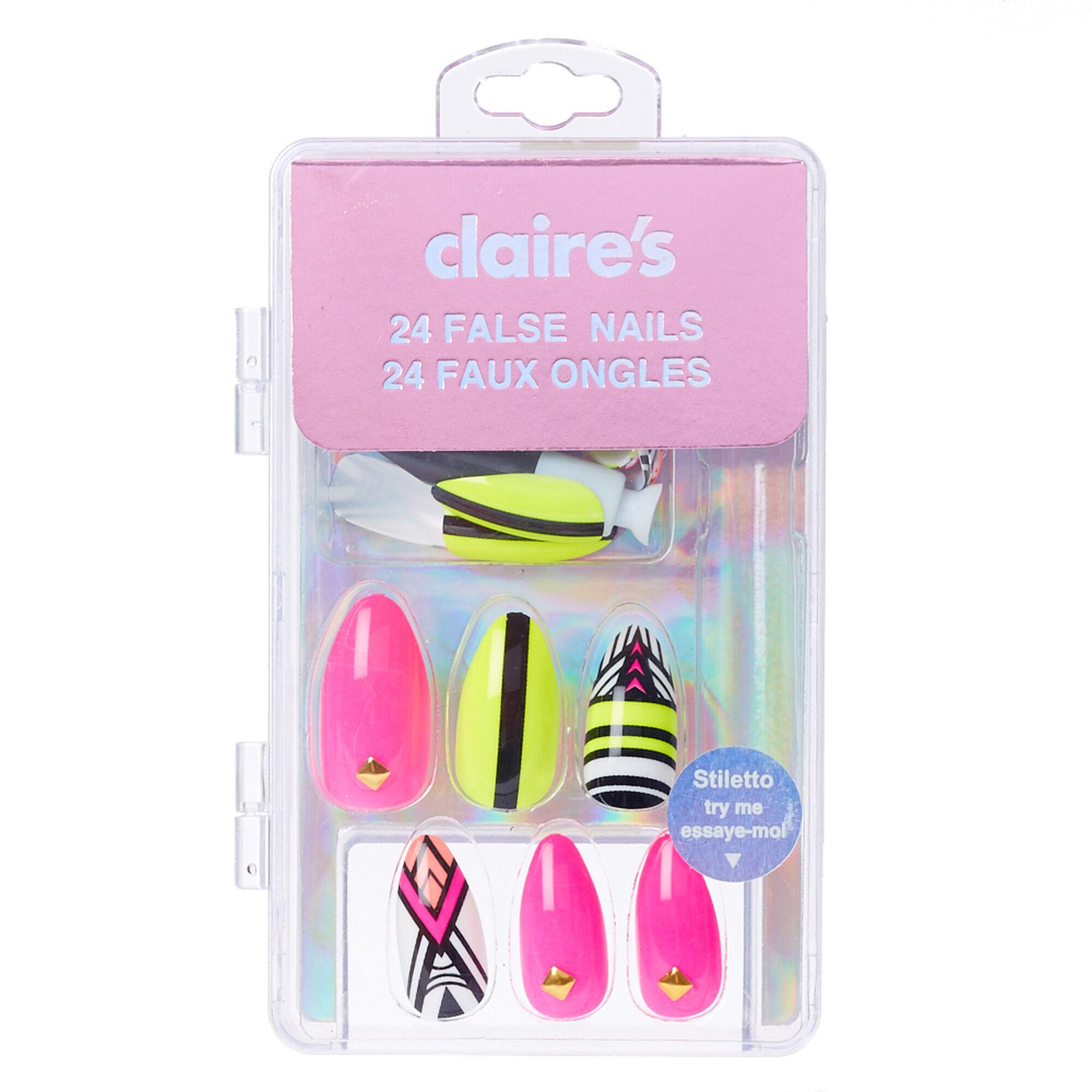 Popular fashion nails uxbridge - Neon Aztec Stiletto Faux Nails