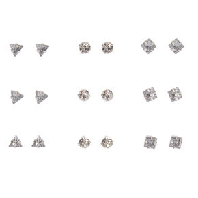 Clear Geometric Crystal Stud Earrings,