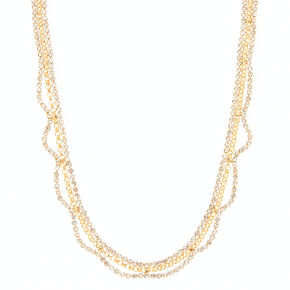 Gold and Crystal Chain Necklace,