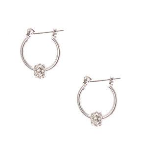 Silver-tone Fireball Mini Hoop Earrings,