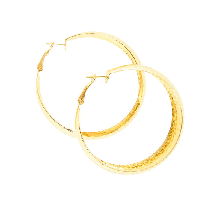 Wide Gold Hammered Hoop Earrings,