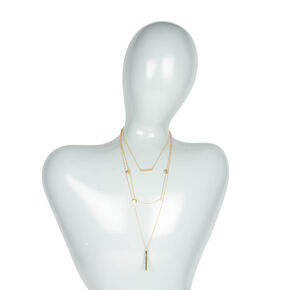 Gold Bar and Coins Multi-Strand Pendant Necklace,