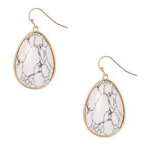 White Marbled Stone Tear Drop Earrings,