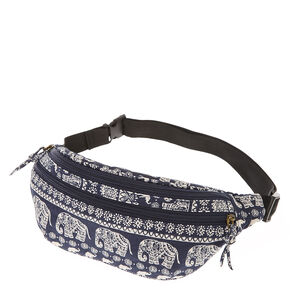 Navy Blue & White Elephant Print Fanny Pack,