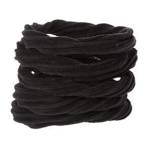 Textured Rolled Black Ponytail Holders Set,