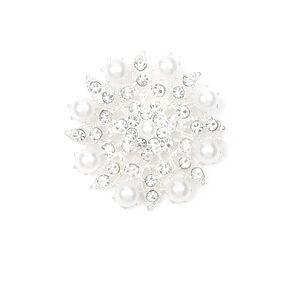 Crystal and Pearls Pinwheel Flower Bridal Brooch,