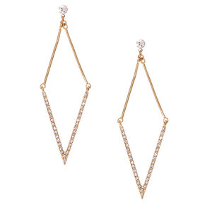 Gold-tone Rhinestone Arrow Drop Earrings,
