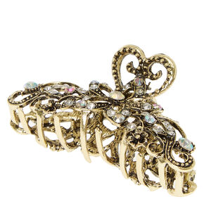 Burnished Gold and Crystal Filigree Vintage Hair Claw,