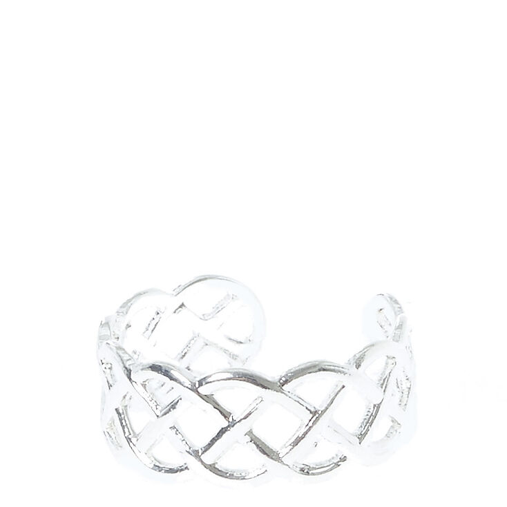 Braided Silver-Toned Toe Ring,