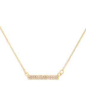 Crystal Pave Gold Bar Necklace,