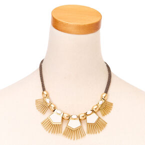 Green Cord & White Leather Boho Statement Necklace,