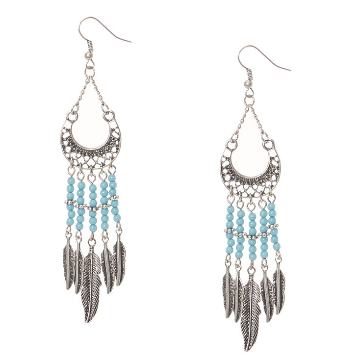 Antique Silver Curved Medallion and Turquoise Bead Fringe Drop Earrings,