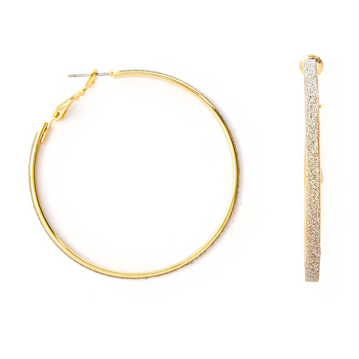 Thin Gold and Silver Glitter Band Hoop Earrings,