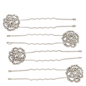 Silver Filigree Rose Bobby Pins,