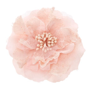 Pink Lace and Mesh Flower Hair Clip,