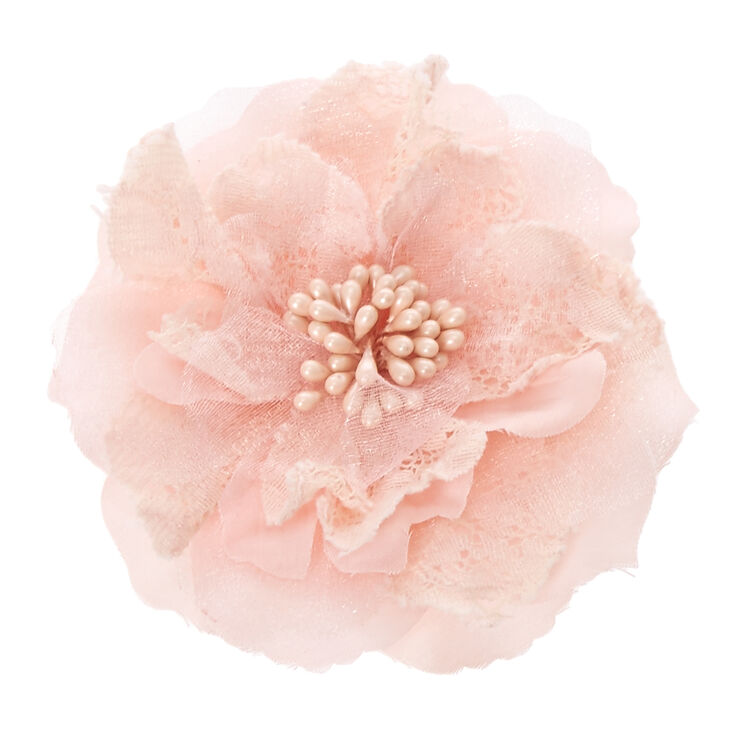 Pink Lace and Mesh Flower Hair Clip at Icing in Victor, NY | Tuggl
