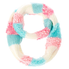 Kids Pink, Blue and White Knit Loop Scarf,