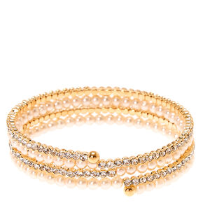 Faux Pearl and Crystal Coil Bracelet,