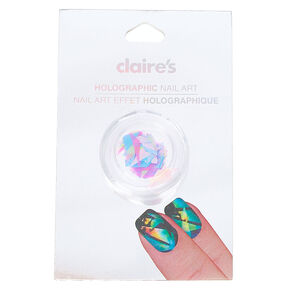 Pink and Blue Shattered Glass Holographic Nail Art,