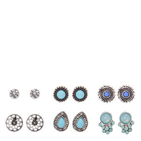 Silver and Turquoise Festival Stud Earrings,
