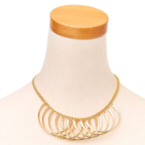 Golden Semi-Circle Statement Necklace,
