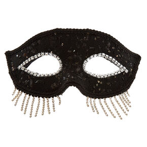 Black Fringe Halloween Mask,