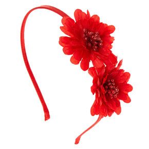 Double Red Flower Headband,
