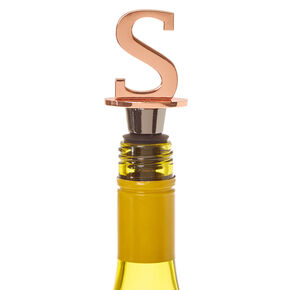 "Metallic Monogram Letter ""S"" Wine Stopper,"