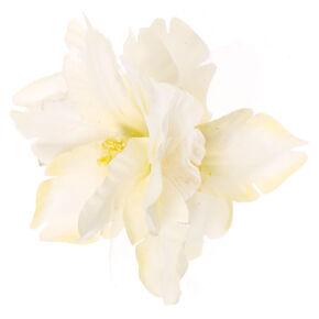 White Double Flower Hair Clip,
