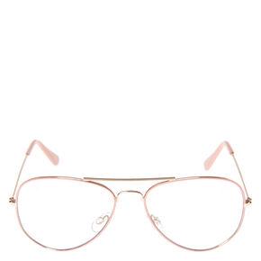 Blush Aviator Clear Fake Glasses,