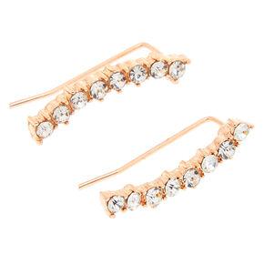 Rose Gold-tone Curved Faux Crystal Bar Ear Crawler,