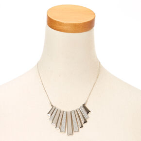 Silver Glitter Bar Fringe Necklace,