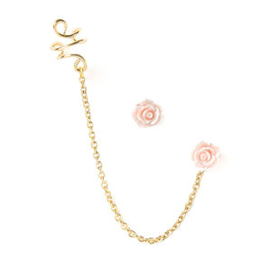 Gold-tone and Pink Carved Rose Chain Ear Cuff and Stud Earring Set,