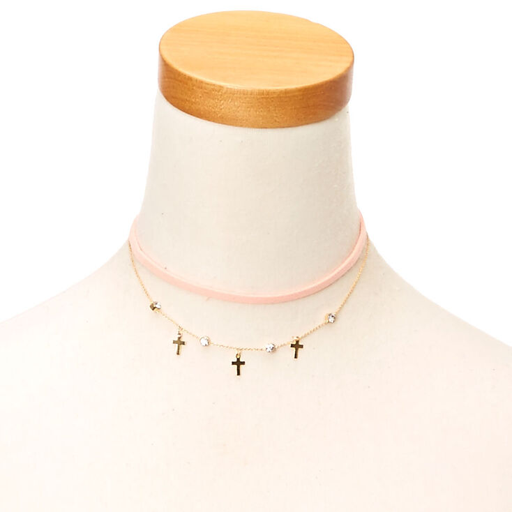 Cross and Suede Choker Necklace Set at Icing in Victor, NY | Tuggl