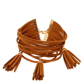 Chunky Tan Suede Gold Anklet,