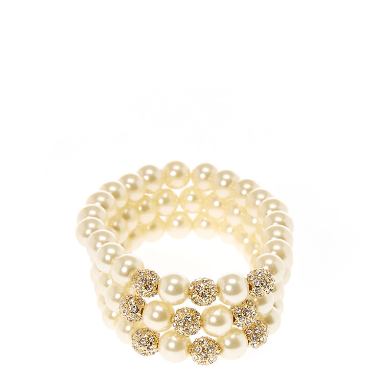 Ivory Faux Pearl and Gold-tone Fireball  Bracelets,