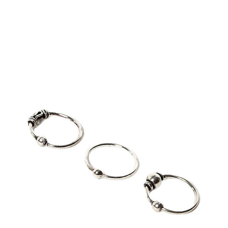 22G Sterling Silver Beaded Cartilage Hoop Earrings 3 Pack ...