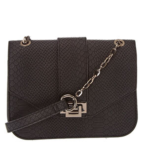 Black Squared Snake Skin Crossbody Bag,