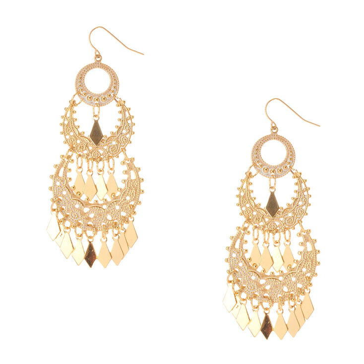 Gold and White Pantina Chandelier Drop Earrings,