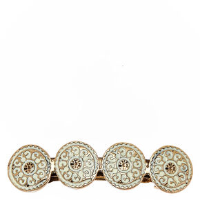 Ivory and Gold Round Medallions Hair Clip,