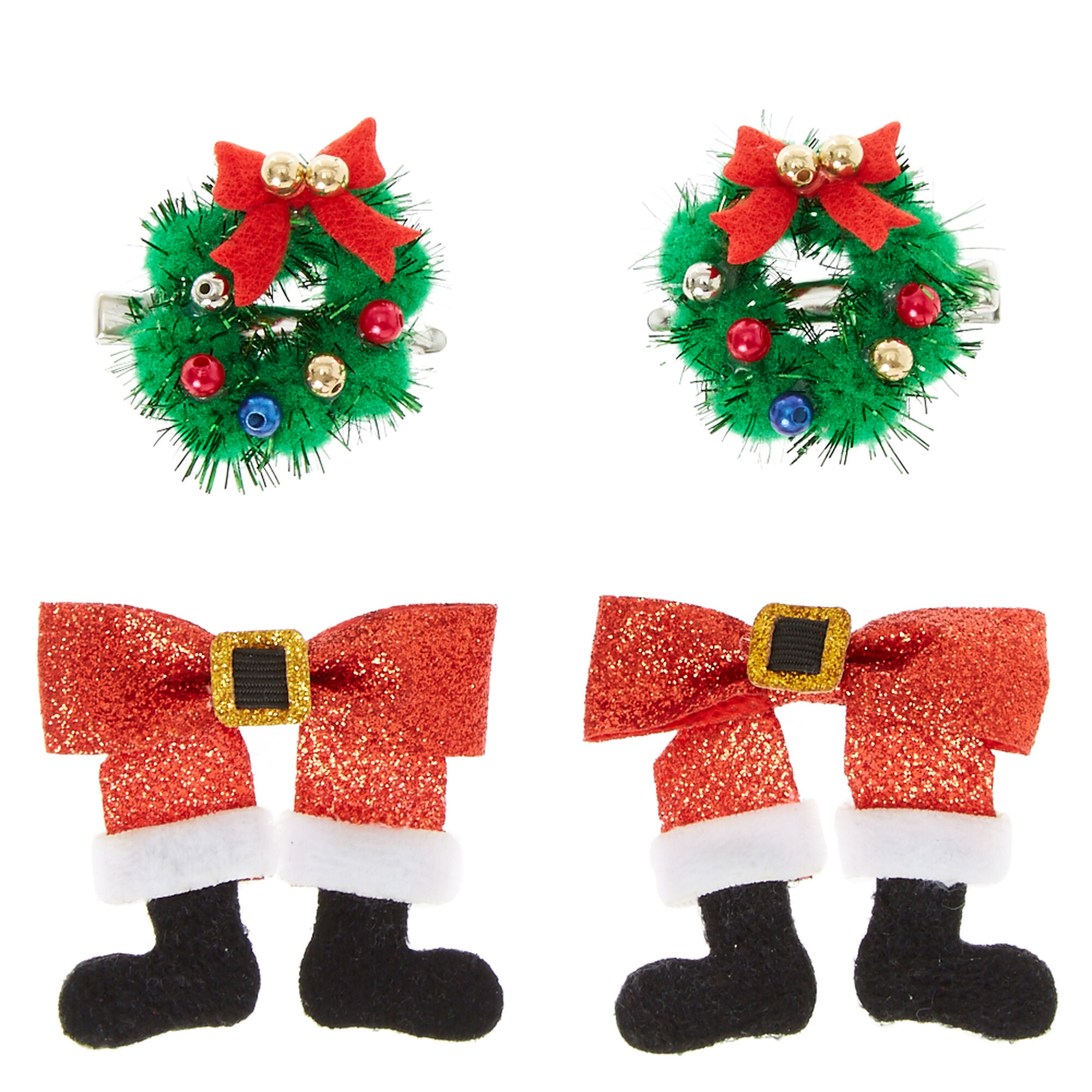 4 piece santa claus u0026 wreath hair clips claire u0027s us