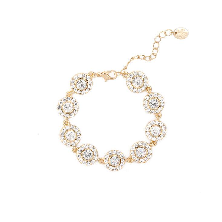 Pavé Crystal and Rhinestone Circles Bracelet,
