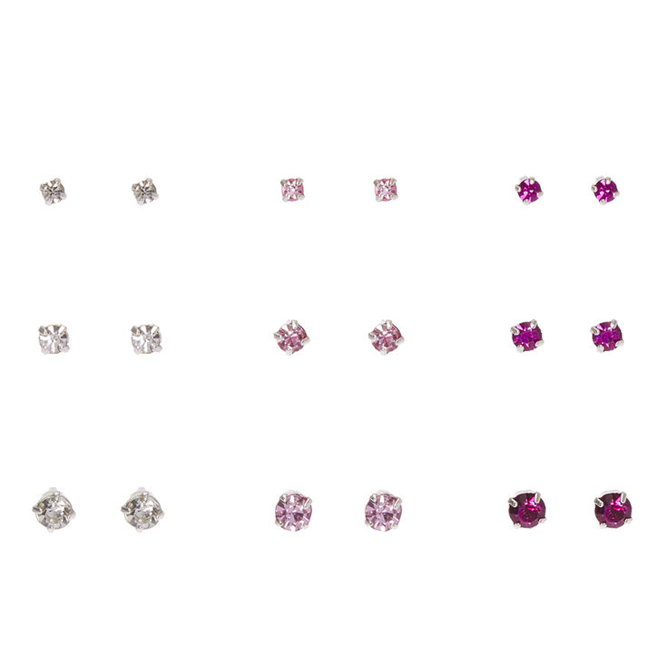Graduated Pink Crystal Silver Framed Stud Earrings,