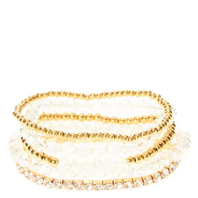 Assorted Gold Toned Beaded Stretch Bracelets,