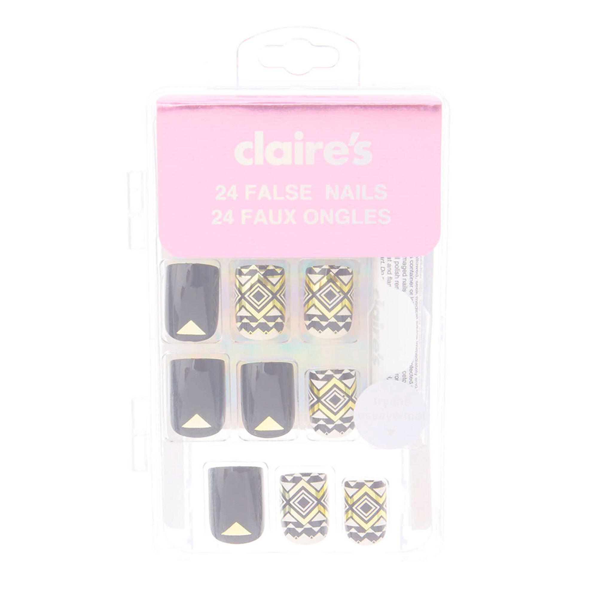 lot de 24 faux ongles imprim azt que noir et dor claire 39 s fr. Black Bedroom Furniture Sets. Home Design Ideas