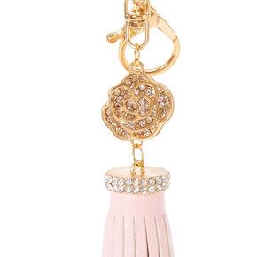 Blush Pink Leather Tassel Keychain,