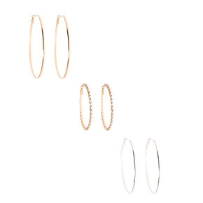 Silver and Gold-tone Large Hoop Earrings,